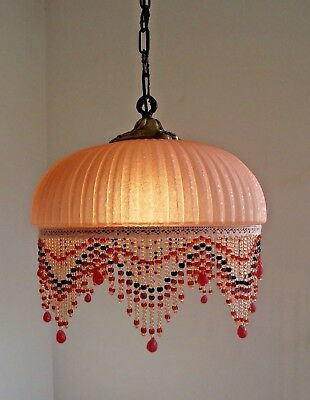 Stunning Art Deco Pink Glass Ceiling Light With Glass Beaded Fringe.