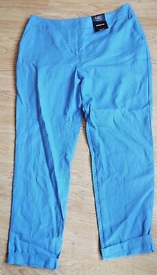 M&S Collection, Wedgewood Blue, Tapered Leg Linen Blend Trousers  Size 14 Bnwt