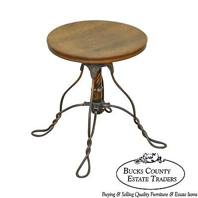 Antiques Furniture Antique Cast Iron Piano Stool Ice Cream Twist Legs Velvet Seat In Short Supply
