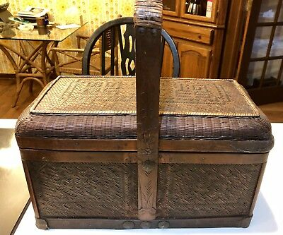 Antique Chinese Wedding Basket Signed ~Circa 19Th Century Qing Period~