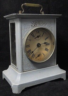 Pendulum Alarm Clock Travel Hamburg American Uhrenfabrik Germany 1900 B1799