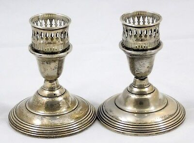 2 WM. Rogers MFG. CO. Weighted Sterling Silver Reticulated Pierced Candlesticks