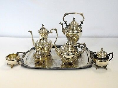 7 Piece Rogers Bros 1847 Silverplate Heritage Tea Set Coffee Tray Floral Footed