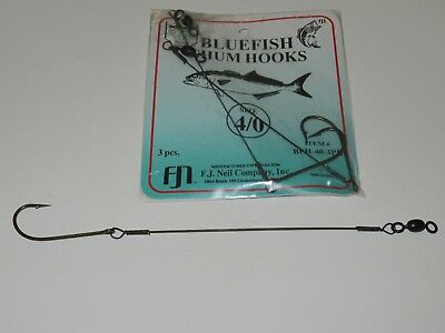(12) 3 Pack Bluefish Chum Hooks Chunk Rig  Size 4/0  Wire Snelled Hook