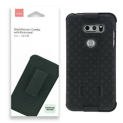 Verizon Shell Holster Combo Case With Kickstand Protection For LG V30 - Black