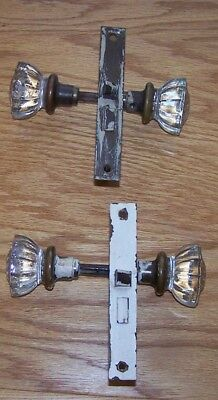 Vintage Glass Door Knobs with Back Plate and Lock