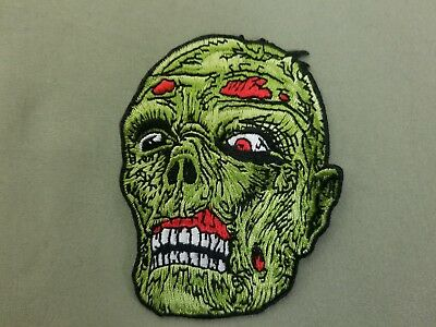 zombie head embroidered iron on patch