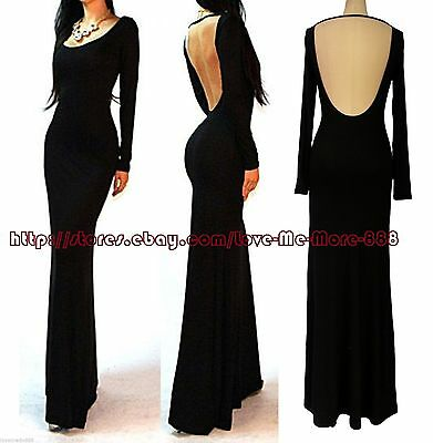 9106aad5701 Womens Minimalist Backless Open Back Slip Long Maxi Cocktail Party Dress  S-2XL