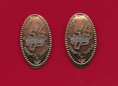ELONGATED PENNY WITH  SYMBO ... YORK RITE - KNIGHTS TEMPLAR ... Lot of 2