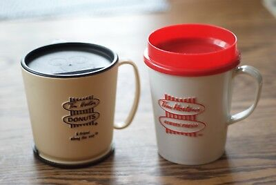 Pair older travel mugs red & White and Friend Along the Way Tim-Bit mascot