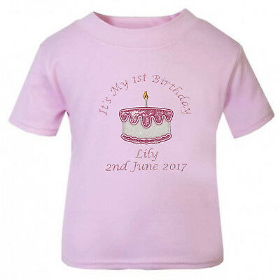 Baby Girl's Personalised 1st Birthday Cake T-Shirts (Cake Smash)