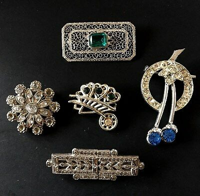 Vintage Art Deco Style Clear Green and Blue Rhinestone Brooch Lot 5 Pcs