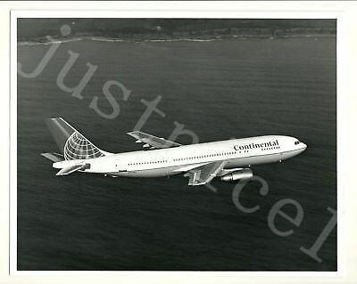 "8"" x 10"" Black White Photo Aerial Coastline View Continental Airline Jet N72987"