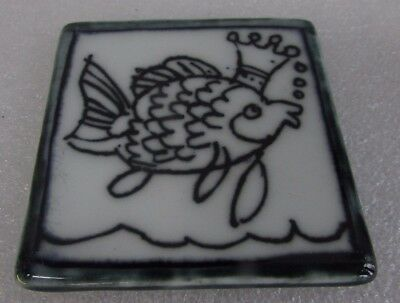 Kevin Boyd Embossed Fish Tile Hand Painted  Australian Pottery Artist