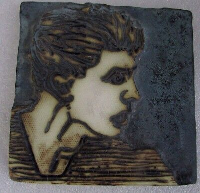 Kevin Boyd Embossed Head Tile Signed Hand Painted  Australian Pottery Artist