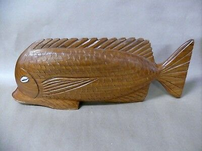 Vintage Carved Wooden Fish Statue Pacific Island Region Cowrie Shell Eyes