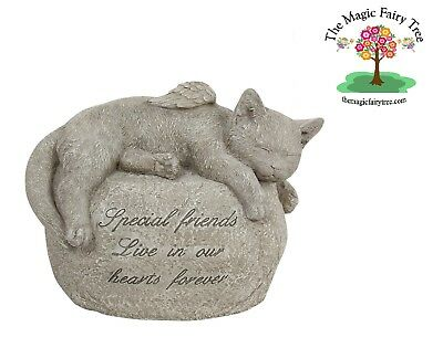24cm cat pet memorial headstone with words Special Friends and angel wings