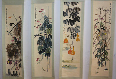 "RARE Chinese 100% Hand Painting 4 Scrolls ""Flowers & Insects"" By Qi baishi 齐白石 W"