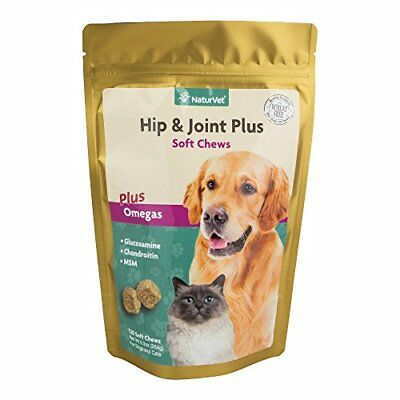 NaturVet Hip & Joint Plus Soft Chews Plus Omegas for Dogs Pets Cats 120 count