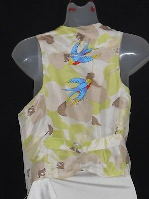 1970's Vintage Demin Vest with Silk Back with Bluebirds Motif.