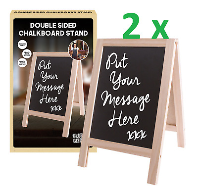 2x Double Sided A4 Chalkboard Stand Cafe Bar Wedding Party Messages Chalk Board