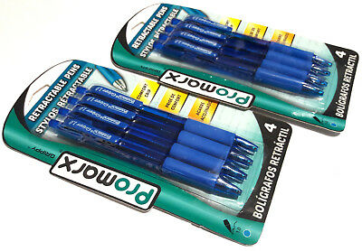 2 PACKS 8 PENS Promarx® Grippy™ COMFORT GRIP RETRACTABLE BALL POINT BLUE INK 1.0