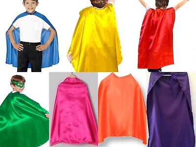 Kid Cape Superhero Halloween Role Play Cosplay Costume Plain Colour Cloak 90cm