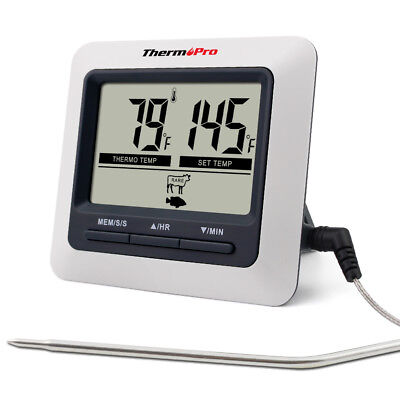 Digital Bratenthermometer Ofenthermometer mit integriertem Countdown Timer