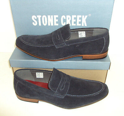 Mens Navy Slip On Shoes Faux Suede Casual RRP £34 Stone Creek New Sizes 6-11