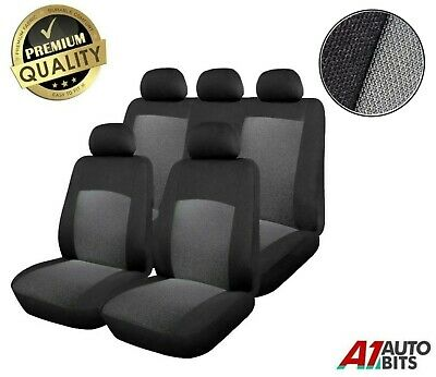 Universal Car Seat Cover Set (9 Pieces) Grey Black Washable & Airbag Compatible