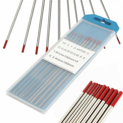 10Pcs Sizes 150mm 2.4mm & 1.6mm  2% Thoriated WT20 Red TIG Tungsten Electrode