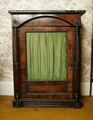 Marble top Victorian sideboard, Bar, Server or Console Table with green silk