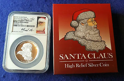 2014 SANTA CLAUS NGC PF70 $1 High Relief 1oz Silver Coin w/Box & COA-Tuvalu