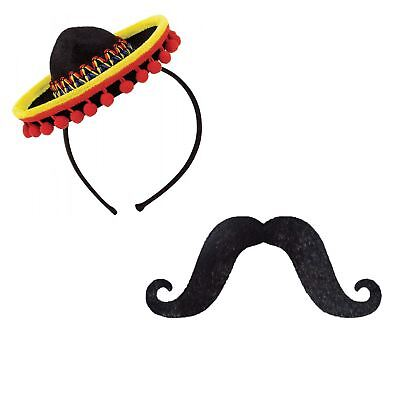 Adults Mexican Fiesta Mini Sombrero Hat Headband & Stick on Moustache Pack Coco