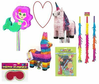 pinata accessories blindfold unicorn mermaid  stick fillers fun party birthday