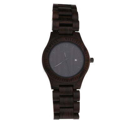 Vintage Natural Wooden Watches Analog Date Quartz Wristwatch for Men Women A