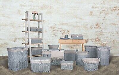 Grey Paint Collection Home Bathroom Storage Wicker Basket Trunk Gift Hampers