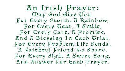 Irish Prayer Lucky Charm Laminated Keepsake Card With Real 4 Leaf Clover