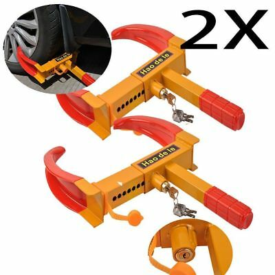 2X Heavy Duty Wheel Clamp Anti Theft Lock Caravan Trailer Security With Keys Chn