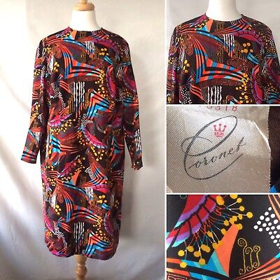 Vintage 1960s Brown Psychedelic Patterned Dress Long Sleeves Mod Size XL 20 22