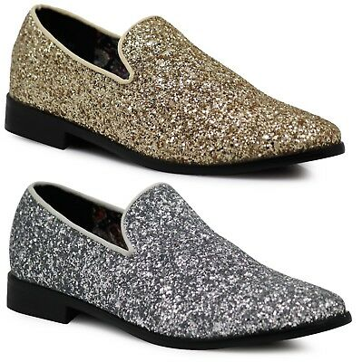 New Men Vintage Glitter Stage Dress Shoes Tuxedos Loafers Slip On Classic SPK4