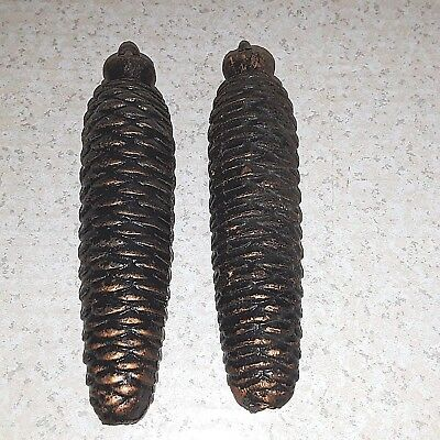 CUCKOO CLOCK ACORN WEIGHTS Pair Vintage  2 lb 9 oz & 2 lb 10 oz CAST IRON 7 Long