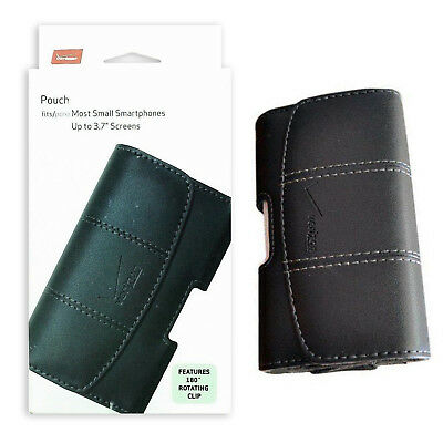 """Verizon Leather Belt Clip Pouch Fits Most Phones with Screen Up to 3.7"""" - Black"""