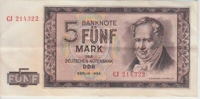East Germany DDR Banknote P22 5 Mark 1964, VF