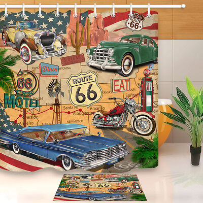 CAR MOTEL ROUTE 66 Fabric Shower Curtain Set 71\