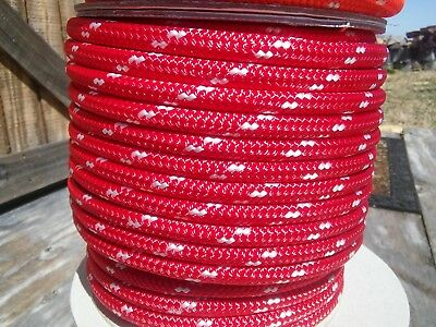 """3/8"""" x 140 ft. Double Braid-Yacht Braid Polyester Rope. Red/White. US Made"""