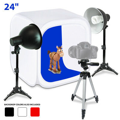 "Lusana Studio Photography Photo Studio 24"" Table Top Photo Box Light Stand Kit"