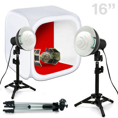 "Lusana Studio 16"" Photo Studio Table Top Photography Lighting Kit Tripod Lights"