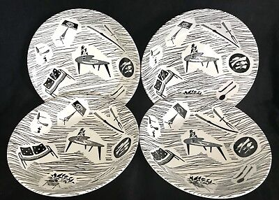 "RIDGWAY HOMEMAKER 7.5"" CEREAL BOWLS x4 VINTAGE c1950 GOOD CONDITION"