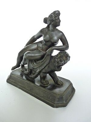 Antique Victorian Grand Tour Spelter Statue Figure of Ariadne and Panther c19th